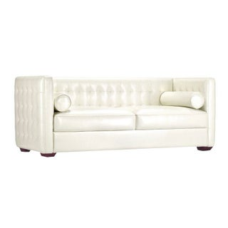 Modern Tufted White Leather Sofa