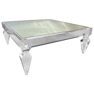 Modern Craig Van Den Brulle Avenire Lucite and Mirror Coffee Table