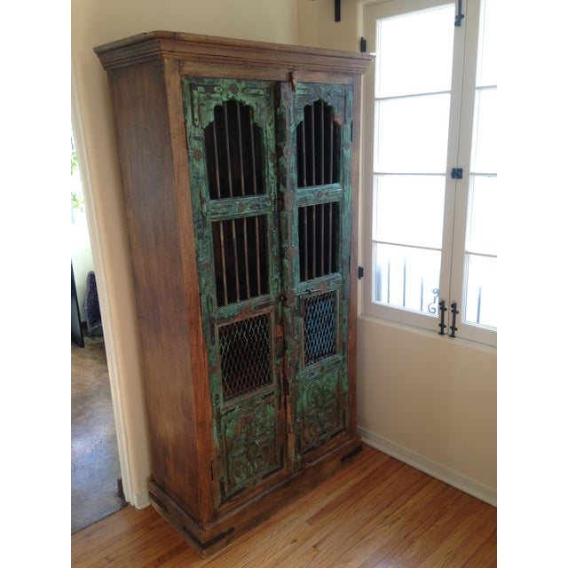 Moroccan Wooden Walnut Stained Armoire - Image 3 of 5