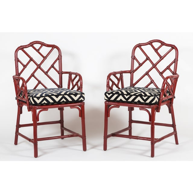 Vintage Bamboo Chinese Chippendale Chairs - A Pair - Image 2 of 9