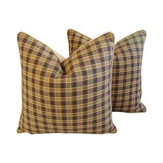 Custom Lee Jofa Leiton Plaid Pillows - A Pair