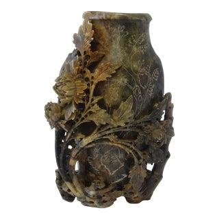 Intricately Carved Soapstone Vase