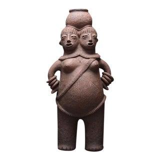 Mangbetu Terracotta Vessel in the Shape of Conjoined Twins