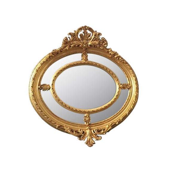 Antique French Louis XVI Gilded Wood Oval Mirror - Image 1 of 6