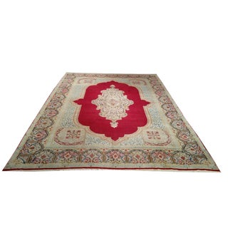 9′ × 12′ Vintage Persian Kerman Hand Made Knotted Rug - Size Cat. 9x12
