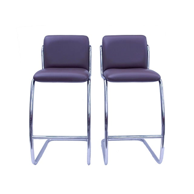 Image of Brueton Modern Leather Barstools - A Pair