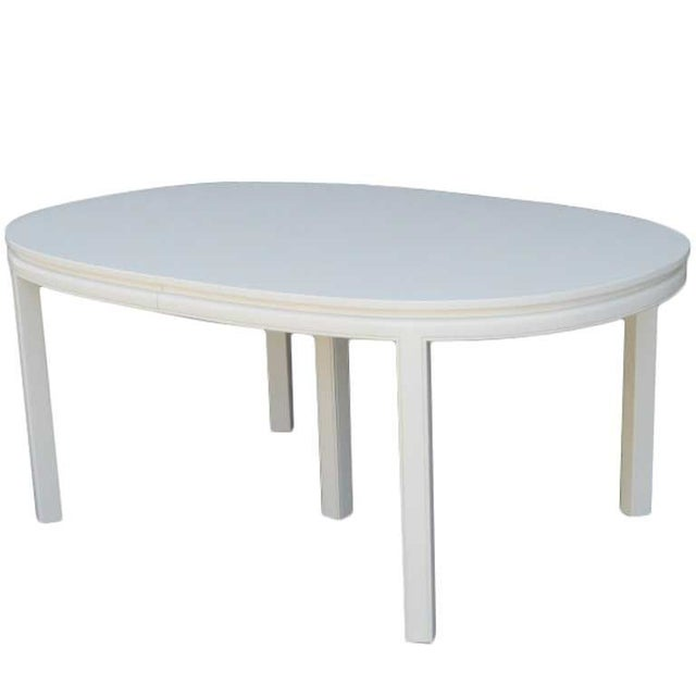 Mid century white lacquer dining table chairish for White lacquer dining table