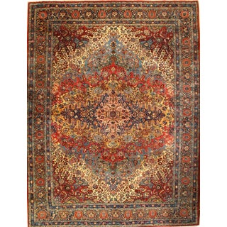 "Antique Persian Yazd Lamb's Wool Rug, 9'4""x12'3"""