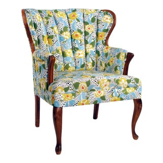 Yellow Floral Wallpaper Chair