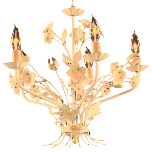 Petite Vintage French Country Painted Chandelier - Image 1 of 3