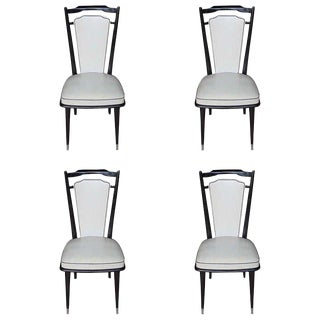 Circa 1940's French Art Deco Black Ebony Dining Chairs - Set of 4