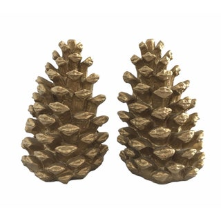 Gold Pinecone Bookends - A Pair
