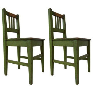 English Green Painted School House Chairs - A Pair