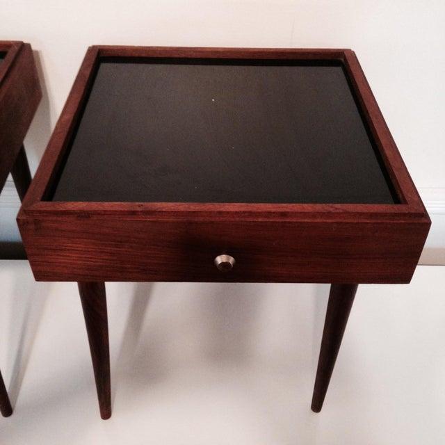 Mark Adam Mid-Century Walnut Folding Tables - Pair - Image 5 of 7