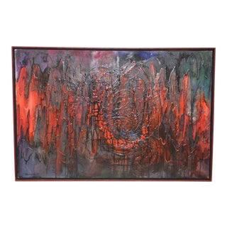 """Vintage 1960s Acrylic Abstract Painting """"E.K.G."""" by Chuchwar c.1967"""