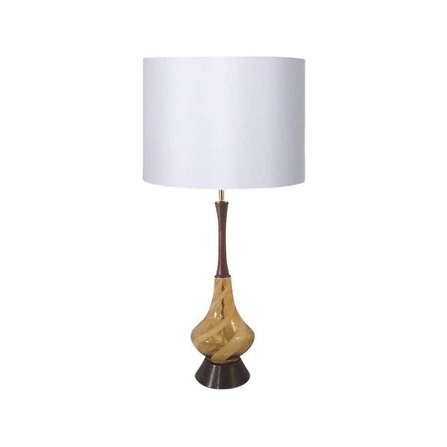 Image of Swirled Amber Murano Lamp