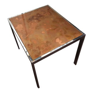Chrome and Copper Side Table