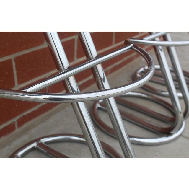 Vintage Art Deco Chrome & Leather Bar Stools - Set of 3 - Image 4 of 5