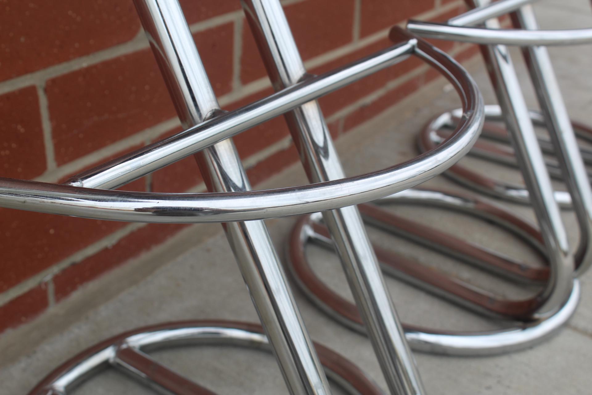 Vintage Art Deco Chrome u0026 Leather Bar Stools - Set of 3 - Image 4 of  sc 1 st  Chairish & Vintage Art Deco Chrome u0026 Leather Bar Stools - Set of 3 | Chairish islam-shia.org