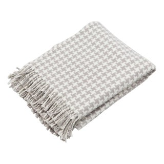 White & Grey Houndstooth Throw