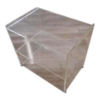 Lucite Rolling Bar Storage Cart