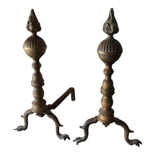 French Brass Flame Andirons - Pair