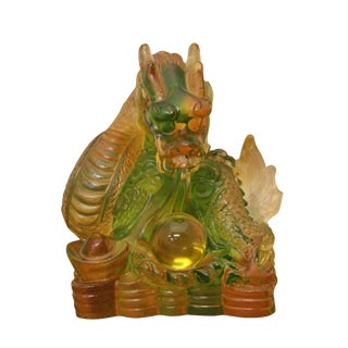 Crystal Glass Liuli Pate-de-verre Dragon Figure Paperweight