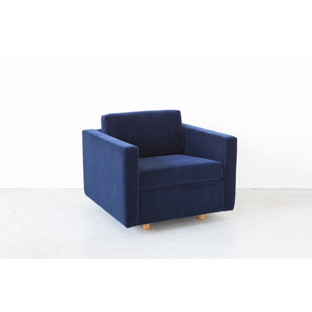 Jack Cartwright Blue Mohair Cube Chairs - Pair - Image 8 of 11