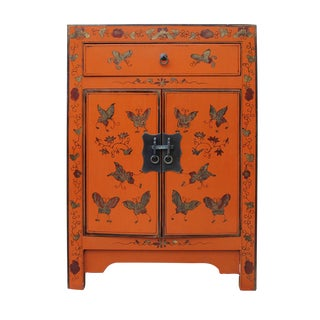 Chinese Orange Butterfly Nightstand