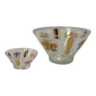 Mid Century Modern Chip-N-Dip Bowls - Pair