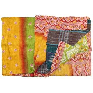 Vintage Yellow Kantha Quilt
