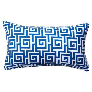 Blue & White Greek Key Pattern Pillow