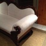 Image of Camel Back Reupholstered Sofa