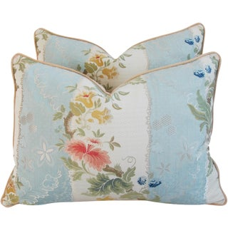 Italian Scalamandre Silk Lampas Pillows - A Pair