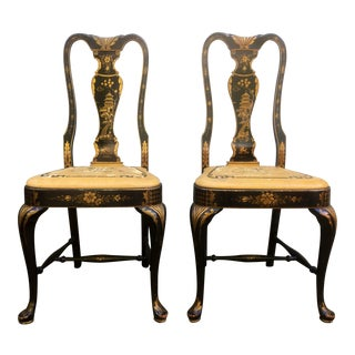 Distressed Asian Painted Chairs - a Pair
