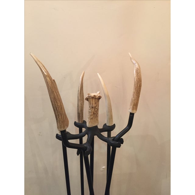 Image of Iron Fireplace Tool Set with Authentic Antler