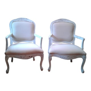 White Painted & Upholstered Chairs - A Pair