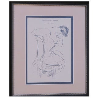 1899 Framed Original Helleu Sketch of a Woman