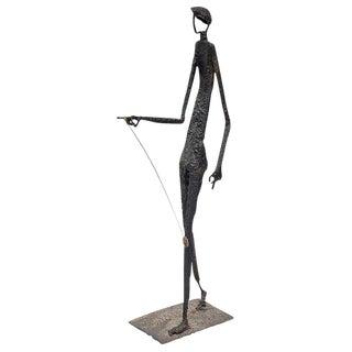 Giacometti Style Molten Bronze Standing Tall Sculpture