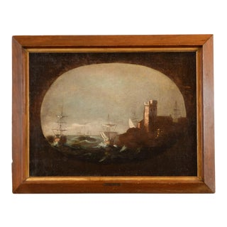 Framed Oil Painting of Spanish Galleons in Marina