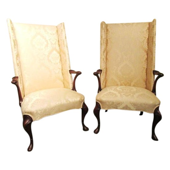 Upholstered Gold Wing Chairs - A Pair - Image 1 of 5