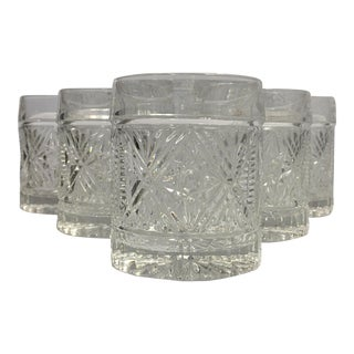 Clear Cut Glass Old Fashioned or Rocks Style Glassware Set of 6