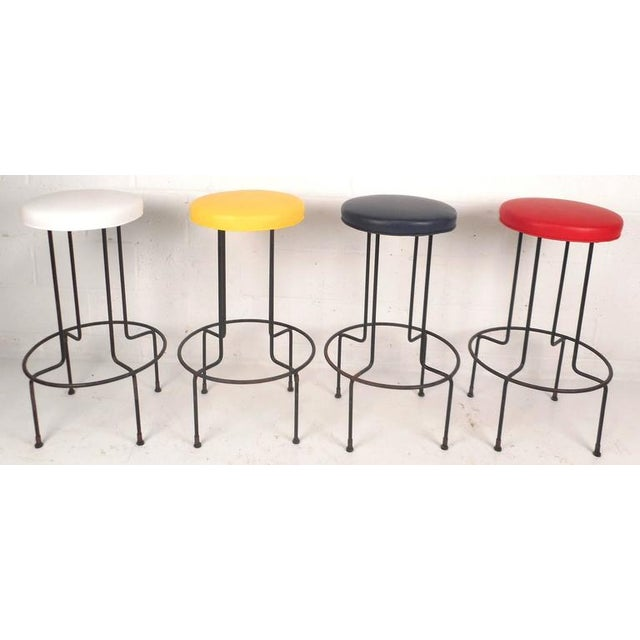 Set of Mid-Century Modern Wrought Iron Bar Stools by Frederick Weinburg - Image 2 of 8