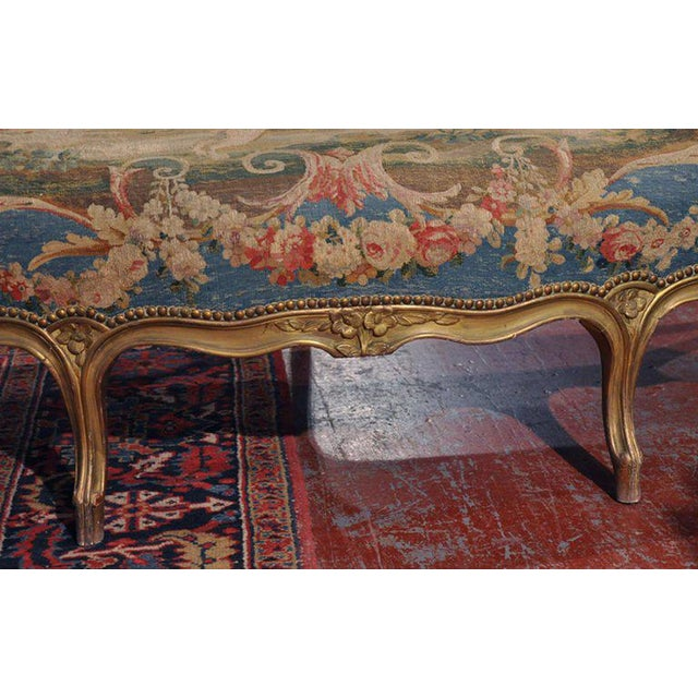 Louis XV Carved Gilt & Aubusson Tapestry Canapé - Image 4 of 10