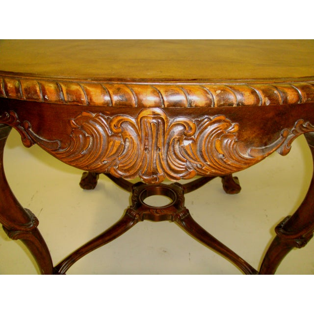 Image of Swedish Flame Birch Carved Center Table