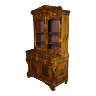 Mahogany Neoclassical Secretary with Gothic Embellishments