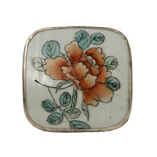 Chinese Flower Porcelain Nickel Trinket Box