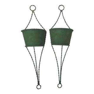 Vintage Green Metal Wall Pockets - A Pair