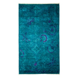 """Hand-Knotted Blue Over Dyed Rug- 3' 1"""" x 5'"""