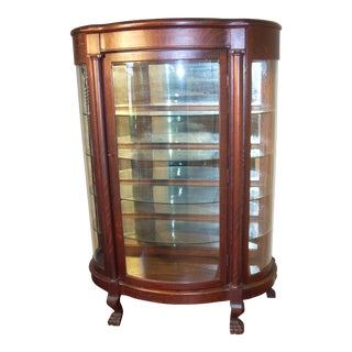 Antique Oak Bowed Glass Curio Cabinet